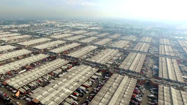 aerial view of mercado de abastos in mexico city - central de abastos stock videos & royalty-free footage