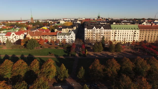 aerial view of meripuisto park in autumn - helsinki, finland. - finlandia video stock e b–roll