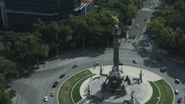 Aerial MS View of  mexico city around angel de la independencia / Mexico City, Distrito Federal, Mexico