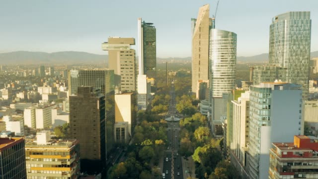 aerial view of mexico city. paseo de la reforma. - avenue stock videos & royalty-free footage