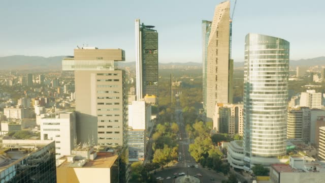 aerial view of mexico city. paseo de la reforma. - mexico stock videos & royalty-free footage