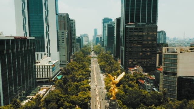 aerial view of mexico city. paseo de la reforma - avenue stock videos & royalty-free footage