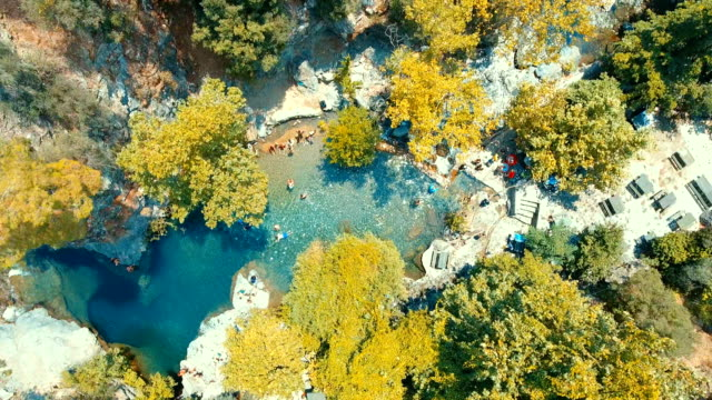 aerial view of mıhlı waterfall - mount ida (kazdağı) - turchia video stock e b–roll