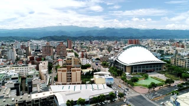 空中ビューの苗栗市 (Hakka) は、市内中心部、台湾に移動します。