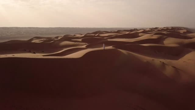 aerial view of middle eastern man walking over dunes in desert at sunrise - sand stock videos & royalty-free footage