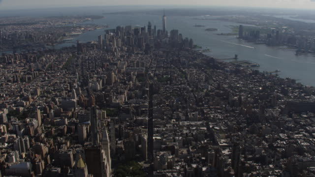aerial view of midtown and downtown manhattan new york city summer day - 2016 stock videos and b-roll footage