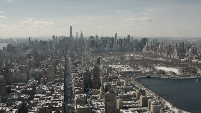 Aerial View Of Midtown Manhattan and Central Park On A Sunny Winter Day