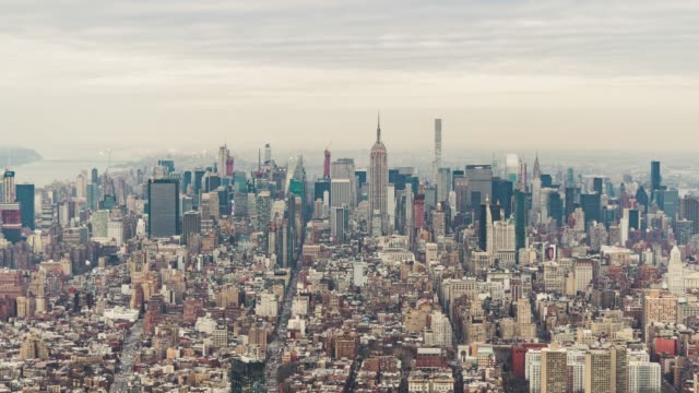 t/l aerial view of midtown manhattan, nyc - balance stock videos and b-roll footage