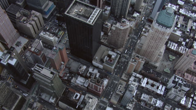 aerial view of midtown manhattan skyscrapers. - broadway manhattan stock-videos und b-roll-filmmaterial