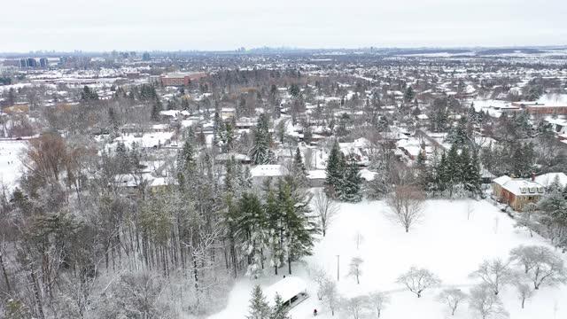aerial view of mill pond park in richmond hill at winter, ontario, canada - ontario canada stock videos & royalty-free footage