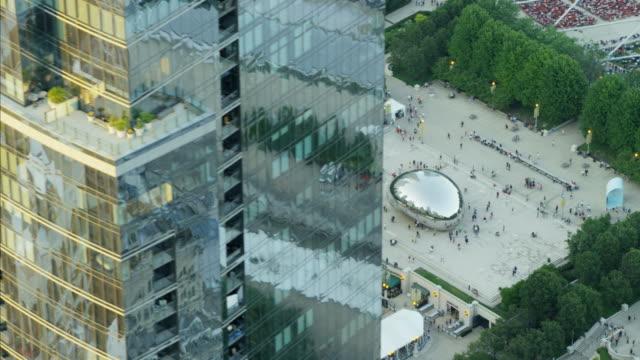Aerial view of Millennium Park Cloud Gate Chicago