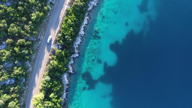 aerial view of mljet national park, croatia - landfahrzeug stock-videos und b-roll-filmmaterial