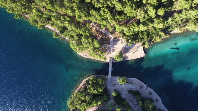 aerial view of mljet national park, croatia - 30秒以上点の映像素材/bロール