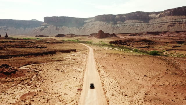 aerial view of moab - off road car stock videos and b-roll footage