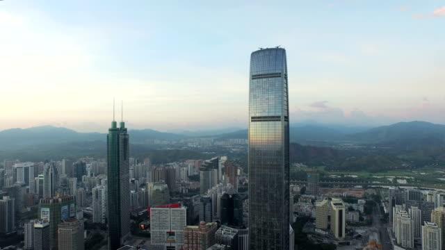 Luftaufnahme des modernen Gebäude und urban Skyline von shenzhen, Echtzeit.