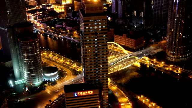 Aerial view of modern buildings and urban cityscape of tianjing at night,real time.