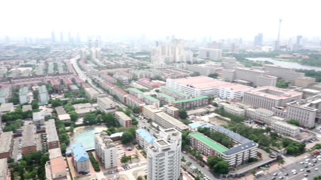 Aerial view of modern buildings and urban cityscape of tianjing,real time.