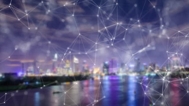 vídeos de stock e filmes b-roll de aerial view of  modern city and communication network, smart city. internet of things. information communication network. sensor network. smart grid. conceptual abstract. - homem e máquina