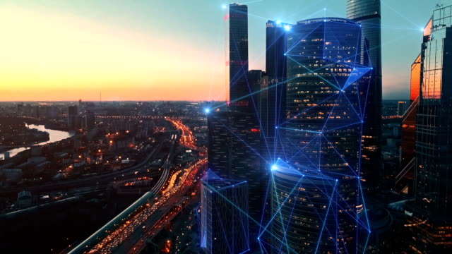 aerial view of modern city and communication network. - plexus stock videos & royalty-free footage