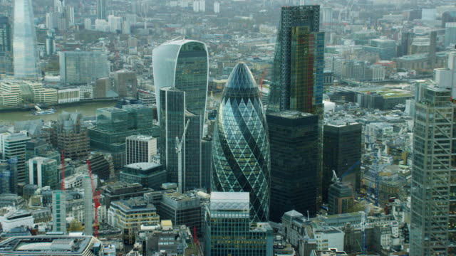Aerial view of modern skyscraper buildings in London