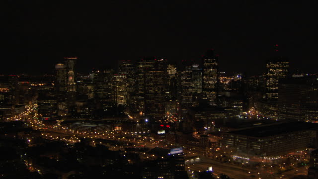 aerial view of modern skyscrapers at night, boston, massachusetts, united states of america - custom house tower stock videos & royalty-free footage