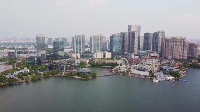 vídeos de stock e filmes b-roll de aerial view of modern smart city - cidade inteligente