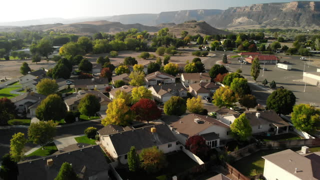 aerial view of modern suburban homes and neighborhoods late autumn western usa 4k video series - western usa stock videos & royalty-free footage