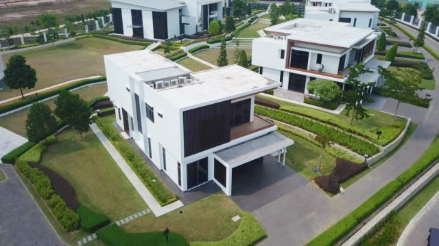 aerial view of  modern suburban house - modern stock videos & royalty-free footage