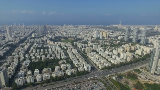 Aerial view of Modern Tel Aviv with Ayalon Highway, Azrieli towers and Ramat Gan Financial District