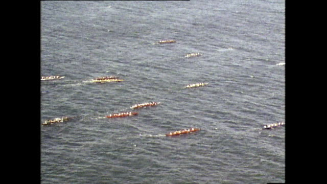 aerial view of molokai hoe canoe race; 1983 - semi dress stock videos & royalty-free footage