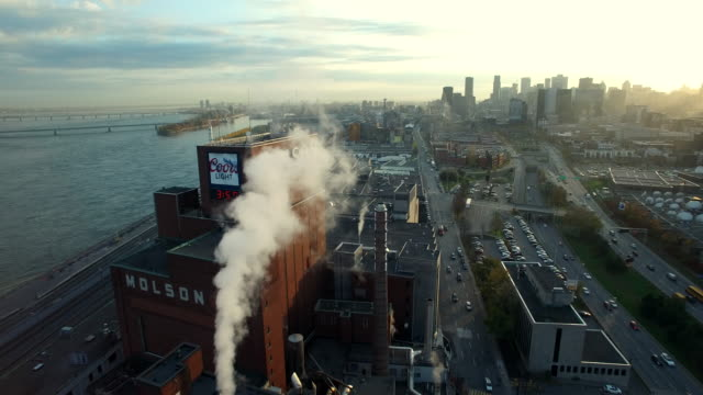 aerial view of molson brewery in montreal - montréal stock videos & royalty-free footage