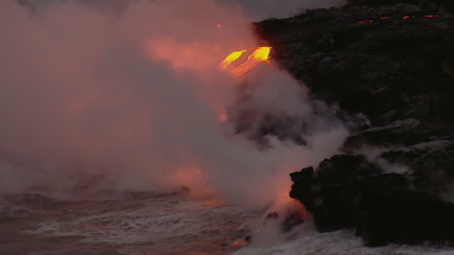 Aerial view of Molten lava flow in Hawaii Volcanoes National Park on the Big Island.