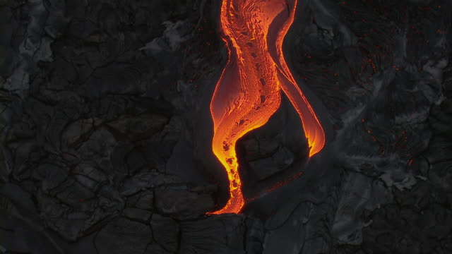Aerial view of molten lava flow on the Island of Hawaii.