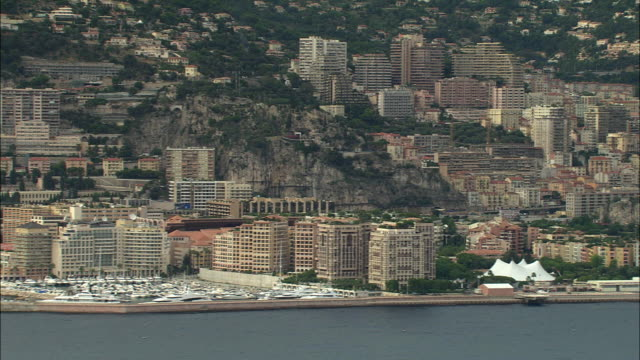ws aerial view of monaco, france - monaco stock videos and b-roll footage