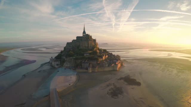 aerial view of mont saint michel - unesco world heritage site stock videos & royalty-free footage