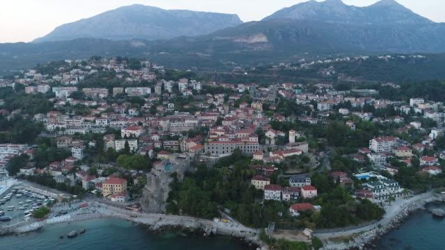 aerial view of montenegro,downtown of herceg novi - montenegro stock videos & royalty-free footage