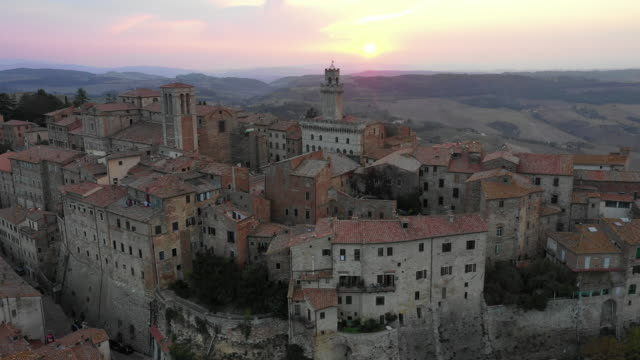 aerial view of montepulciano village, tuscany, italy - montepulciano stock videos & royalty-free footage