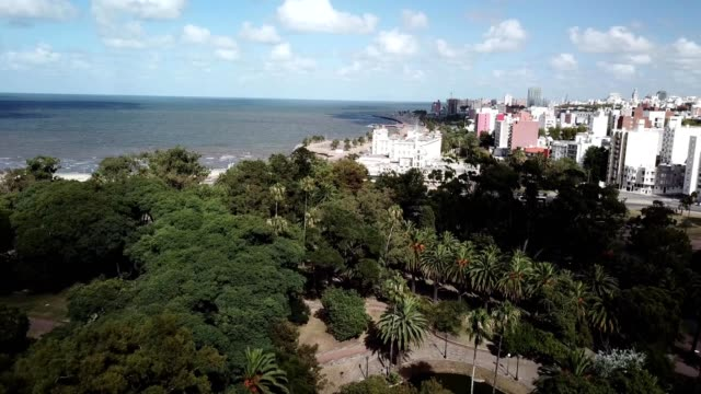 aerial view of montevideo, uruguay park and ocean - モンテビデオ点の映像素材/bロール