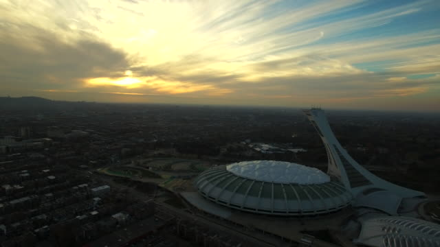 aerial view of montreal olympic stadium - montréal stock videos & royalty-free footage