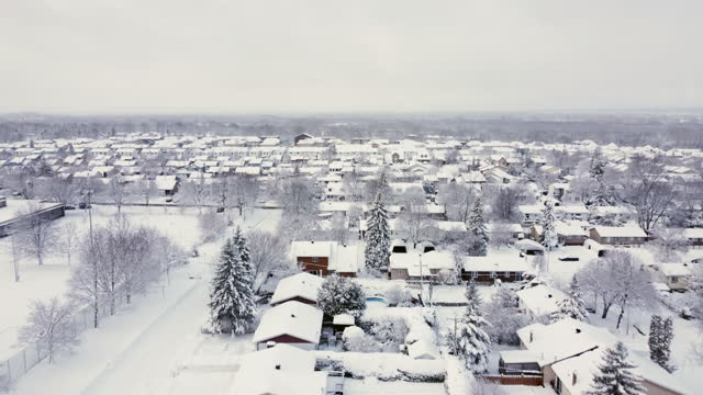 aerial view of montreal suburb in winter after snowstorm, laval, quebec, canada - viewpoint stock videos & royalty-free footage