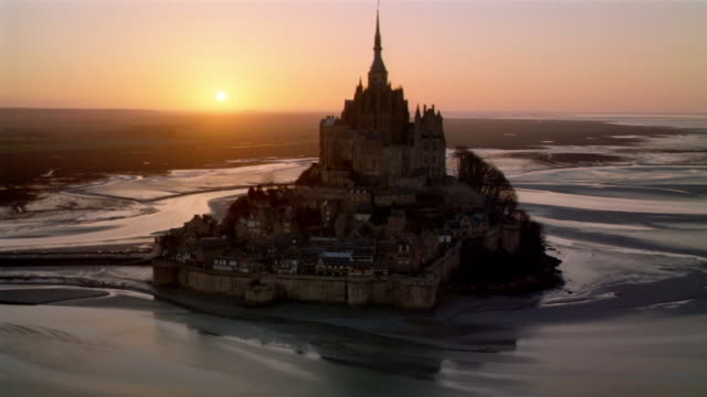 Aerial view of Mont-Saint-Michel at twilight / Normandy, France