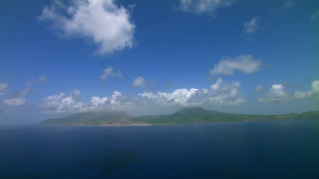 Aerial view of Montserrat and the blue Caribbean Sea.