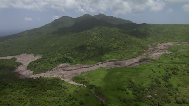Aerial view of Montserrat Island in the Caribbean.