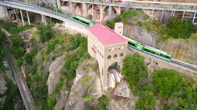 vídeos y material grabado en eventos de stock de aerial view of montserrat rack railway - railroad track