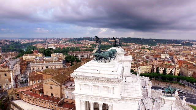 aerial view of monumento a vittorio emanuele ii - altare della patria stock videos and b-roll footage