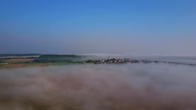 aerial view of morning fog near merzkirchen, saargau, rhineland-palatinate, germany - traumartig stock-videos und b-roll-filmmaterial
