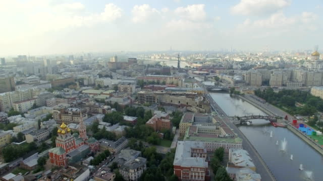 aerial view of moscow and river - moscow russia stock-videos und b-roll-filmmaterial