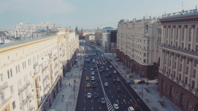 aerial view of moscow city hall and tverskaya street - moskau stock-videos und b-roll-filmmaterial