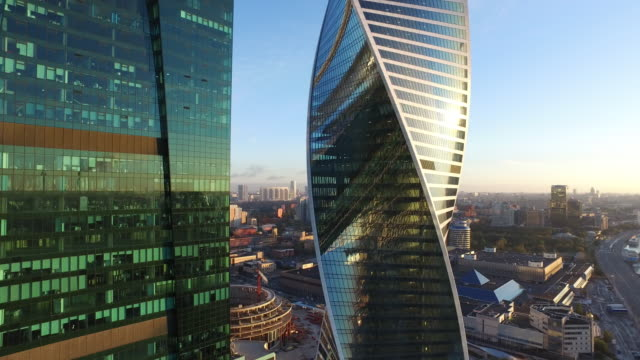 aerial view of moscow city - spiral stock videos & royalty-free footage
