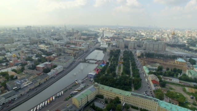 aerial view of moscow - river moscva stock videos & royalty-free footage
